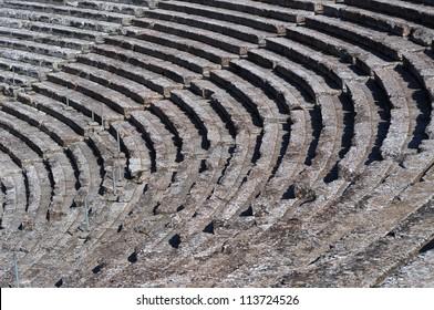 Ancient Greek Theater, Epidaurus, Peloponnese, Greece. Detail of concentric patterns.