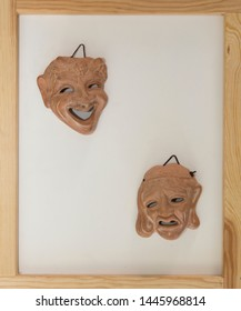 Ancient Greek theater masks: comedie and tragedie
