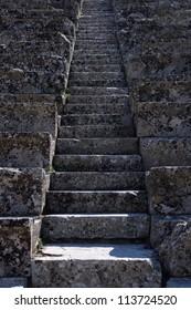 Ancient Greek theatre steps, Epidaurus, Peloponnese, Greece