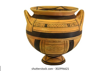 An ancient greek vase from the geometric period. Isolation against a white background