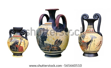 Ancient Greek Vase Isolated On White Stock Photo Edit Now
