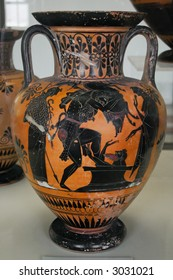 An ancient greek vase with mythological paintings (black on red)