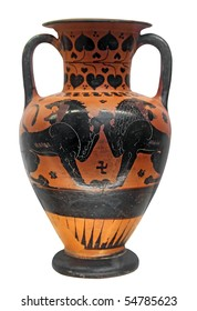Ancient greek vase with two lions isolated on white with clipping path
