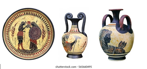 Ancient Greek vases and a plate on a white background. Plate and vase with the image of the goddess Thetis and Achilles. Mythological deities.