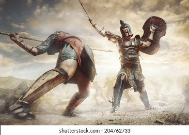 Ancient Greek warrior fighting in the combat