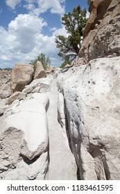Ancient grooved walkways at The Bandelier National Monument part of the Tsankawi Prehistoric Site, New Mexico, USA