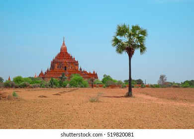 Ancient Gubyaukgyi Temple in Bagan, Myanmar, Southeast Asia. Beautiful old Buddhist pagoda, Myinkaba Village, Nyaung U, Burma. Most popular and famous burmese landmark, tourist destination of Myanmar