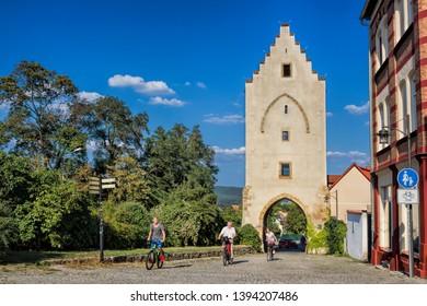 ancient hall gate in saalfeld, germany