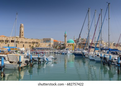 The ancient Harbour and a fishing port in Acre (Akko), western Galilee, Israel.