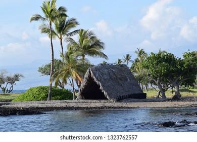 Ancient hawaiian home at Makaiwa Bay near , on the Kohala coast, Big Island, Hawaii