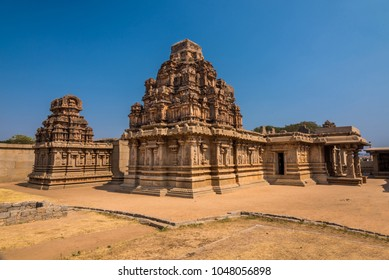 Ancient Hazara Rama temple among the ruins of Hampi from the 14th century Vijayanagara empire, currently a UNESCO world heritage site.