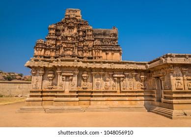 Ancient Hazara Rama temple among the ruins of Hampi from the 14th century Vijayanagara empire.