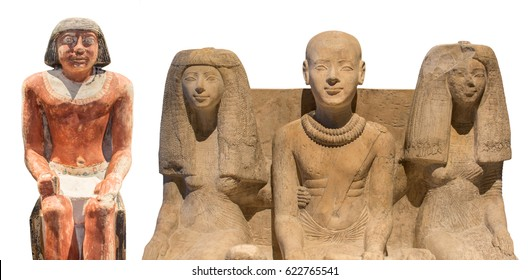 Ancient head of a Egyptian pharaon statue on a white background