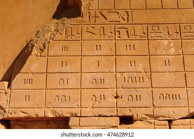 Ancient Hieroglyphs (Egyption number) of the Karnak temple, Luxor, Egypt (Ancient Thebes with its Necropolis).