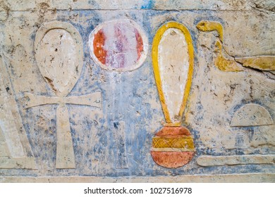 Ancient hieroglyphs in the temple of Hatshepsut, Egypt