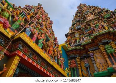Ancient Hindu Pathirakali Amman temple in Trincomalee, Sri Lanka. Temple was built in honor of the goddess Badrakali (Bhadrakali). Walls are decorated with beautiful ornament. Kali temple