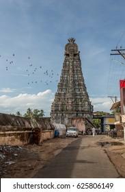 Ancient Hindu temple (gopuram) at Thirukadaiyur, Tamil Nadu