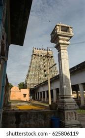 Ancient Hindu temple tower (gopuram) at Thirukadaiyur, Tamil Nadu