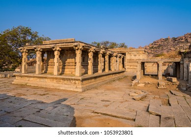 Ancient historic architecture at Hampi from 14th century Vijayanagara empire, currently a UNESCO world heritage site.