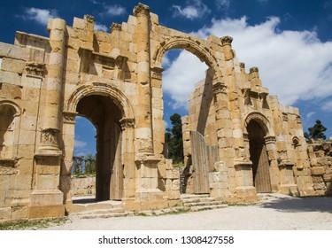 Ancient historic archway in Jerash, Jordan.