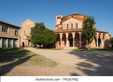 Ancient and historic area of the island of Torcello in Italy. Church of Santa Fosca and Santa María de Torcello