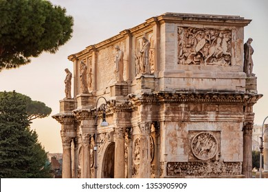 Ancient historic Constantin Arc stone building in Rome
