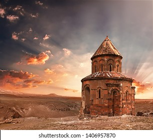 Ancient historical building and mystical ambiance. St. Gregory Church in Ani Ruins. Kars,Turkey