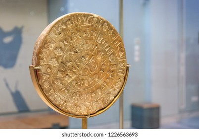 Ancient, historical, greek hieroglyph disk