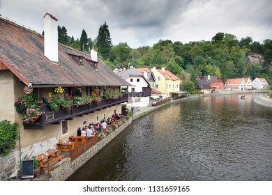 ancient historical houses near Vltava River in Cesky Krumlov. South Bohemia, Czech Republic