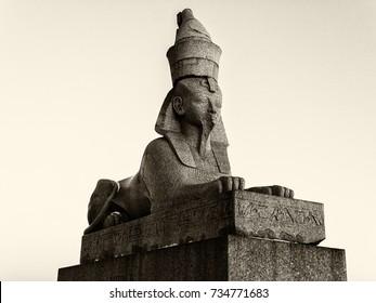 Ancient historical landmark in Saint Petersburg, Russia: egypt sphinx. Black and white retro photo.