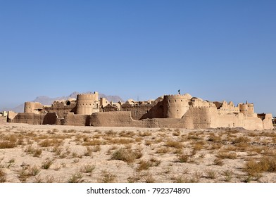 The ancient historical monument and tourist attraction of Iran, the ruins of Saryazd clay castle in desert near Yazd city.