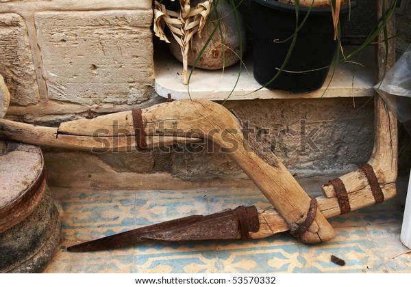 Ancient Homemade Plough Stock Photo (Edit Now) 53570332
