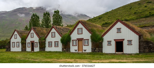 Ancient houses in Laufas, Iceland