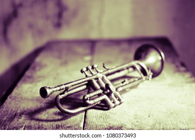 Ancient houses with old instruments, a jazz trumpet