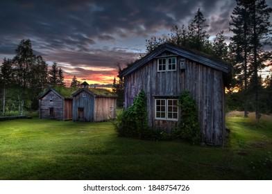 Ancient houses on the countryside of Norway