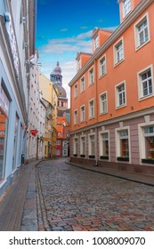 Ancient houses in Riga. Beautiful architecture. Historical value