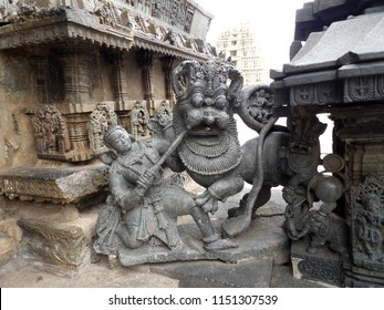 Ancient Hoysala empire sculpture at Chenna Keshava Temple, Belur, India