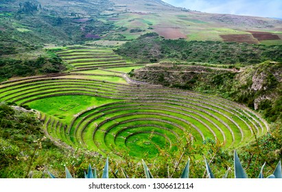 Ancient Inca circular terraces at Moray (agricultural experiment station) - Peru, Latin America