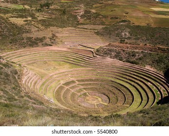 Ancient Inca circular terraces at Moray, Peru