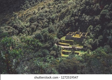 An ancient Inca ruin hidden in the forest, view from the Inca Trail (Peru)