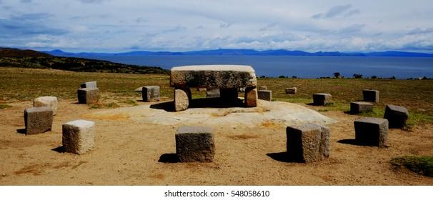Ancient Inca table on the Isla del Sol, Lake Titicaca, Bolivia