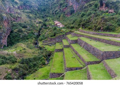 Ancient Inca's agricultural terraces near Pisac village, Peru