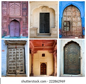 Ancient Indian doors from Delhi, Jaipur, and Jaisalmer.