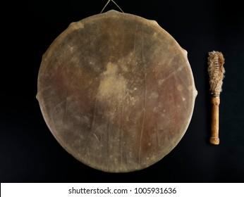 Ancient indian tambourine drum drumstick replica