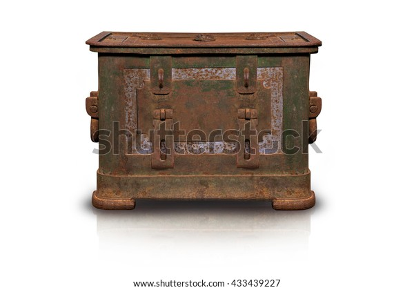Ancient iron chest isolated on white background