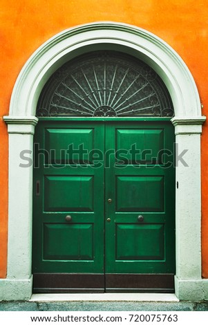 Ancient Italian Door,Wooden Door In An Old Italian House