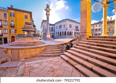 Ancient Italian square arches and architecture in town of Udine, Friuli Venezia Giulia region of Italy