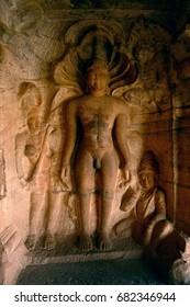 Ancient Jain sculpture at the cave in Badami, Karnataka, India.