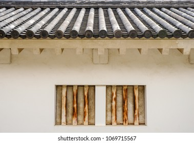Ancient Japanese temple roof tile background