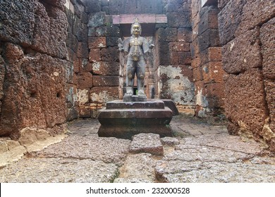 Ancient Khmer architecture. Huge carved Buddha of Bayon temple at Angkor Wat complex, Siem Reap, Cambodia